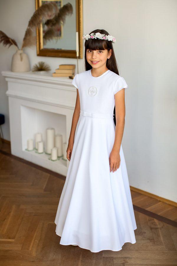 Sukienka do komunii z haftem hostii