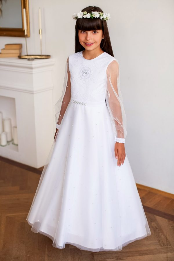 Suknia komunijna haftowana z perełkami