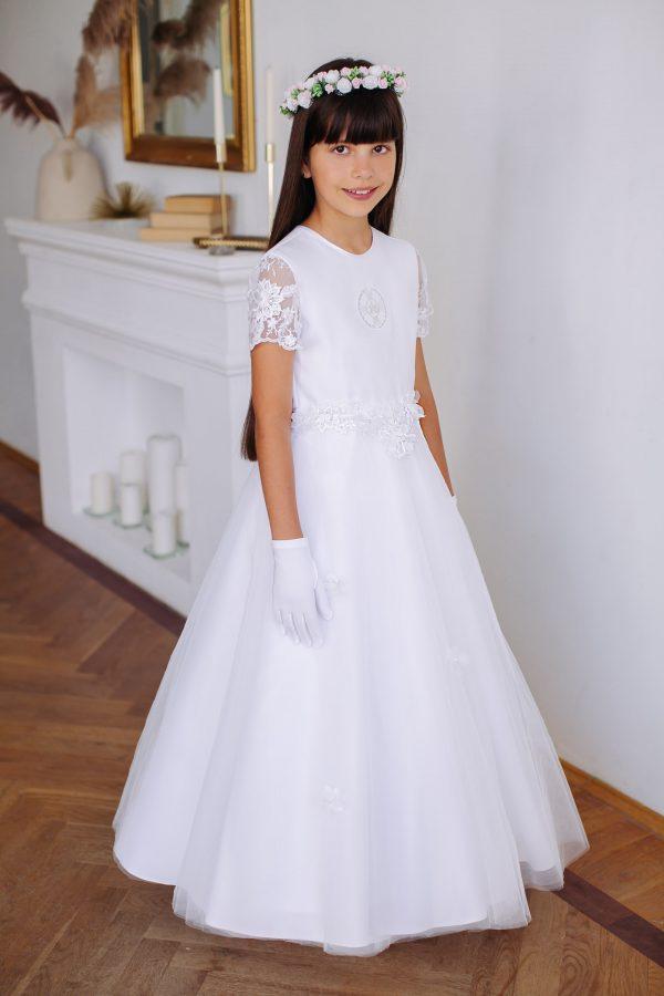 Sukienka komunijna z haftem hostii