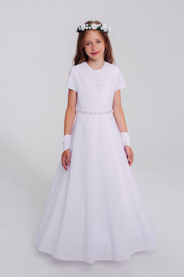 Sukienka komunijna z haftem i kryształkami