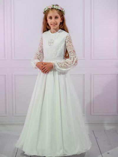 Suknia komunijna haftowana hostia, koronka