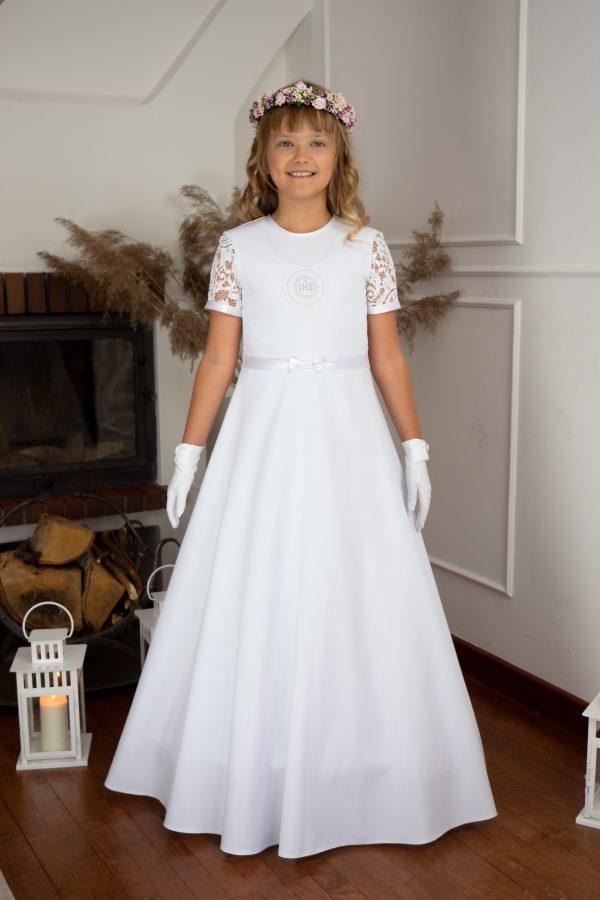Suknia do komunii, rękaw krótki z koronki