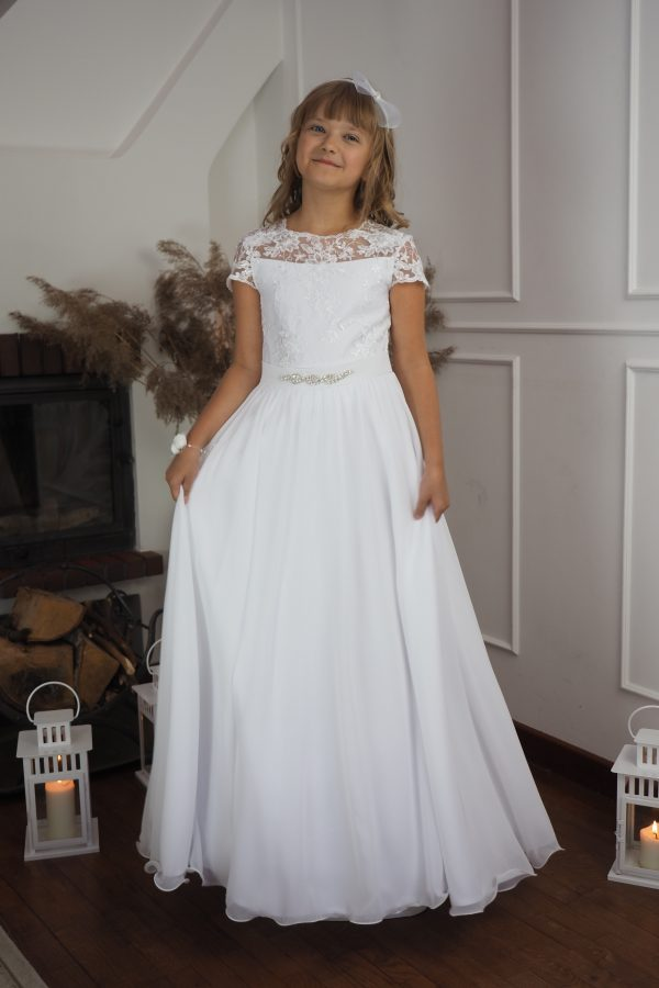 Suknia komunijna karczek z koronką